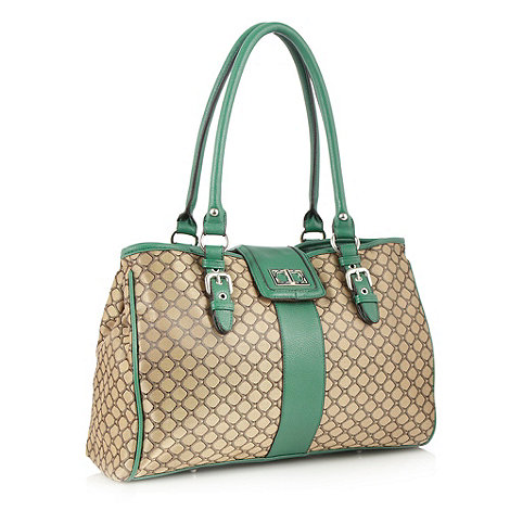 The Collection - Green jacquard work bag