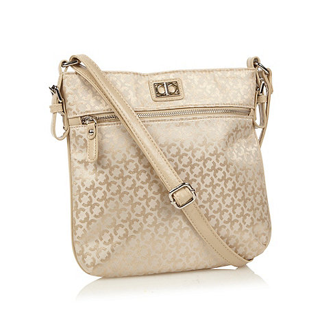 The Collection - Cream geometric jacquard across body bag