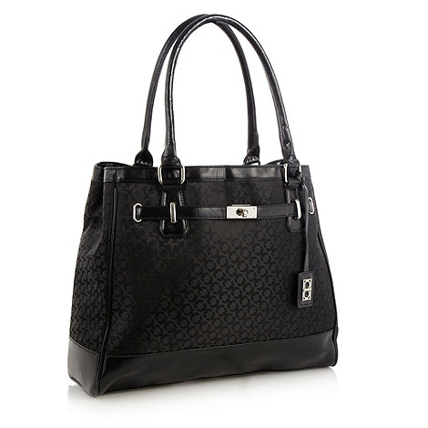 The Collection - Black faux leather trimmed jacquard work bag