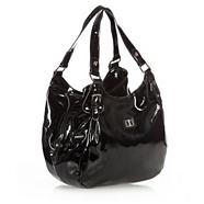 Black patent three section shoulder bag