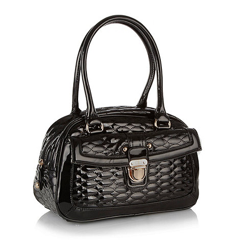 The Collection - Black patent quilted bowling bag