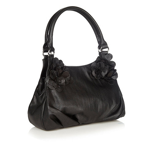 The Collection - Black faux leather corsage shoulder bag