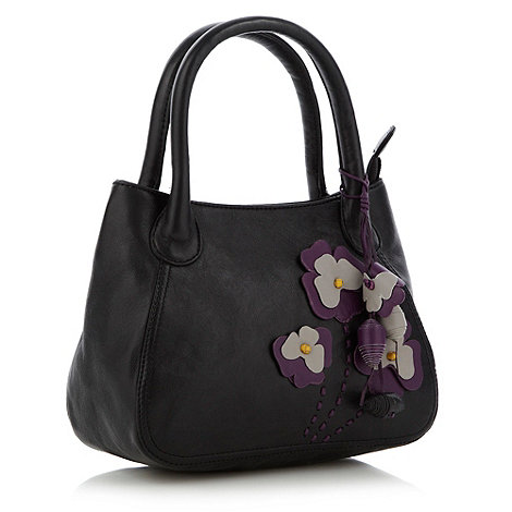 The Collection - Black appliqued floral grab bag