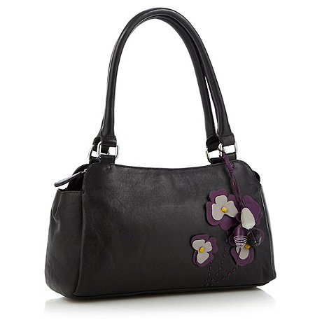 The Collection - Black appliqued floral shoulder bag bag