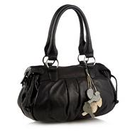 Black Bird Charm Pleated Bowling Bag