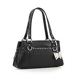 The Collection - Black flower stitch three section bag