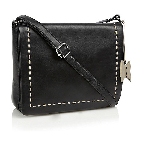The Collection - Black stitch detail leather bag
