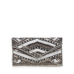 Nine by Savannah Miller - Silver bead embellished envelope clutch bag