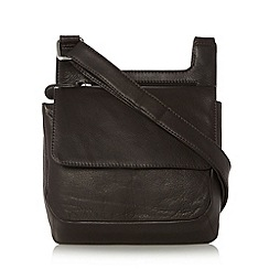 The Collection - Chocolate leather small flapover front cross body bag