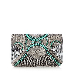 Nine by Savannah Miller - Silver beaded clutch bag