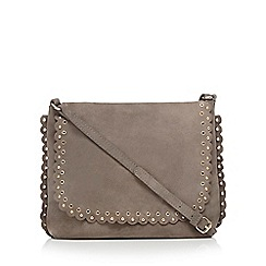 Nine by Savannah Miller - Grey scalloped suede saddle bag