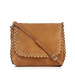 Nine by Savannah Miller - Tan scalloped suede saddle bag
