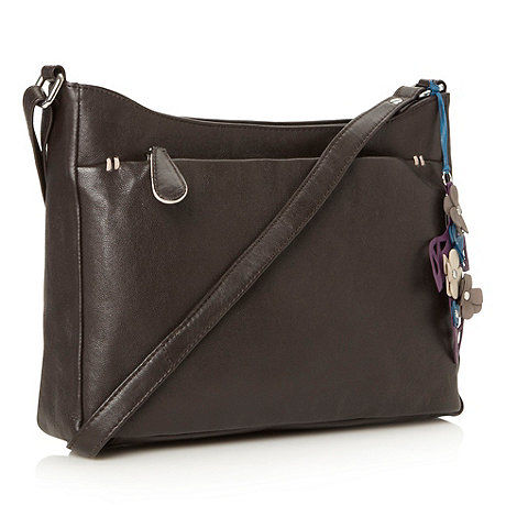 The Collection - Dark brown leather zipped front across body bag