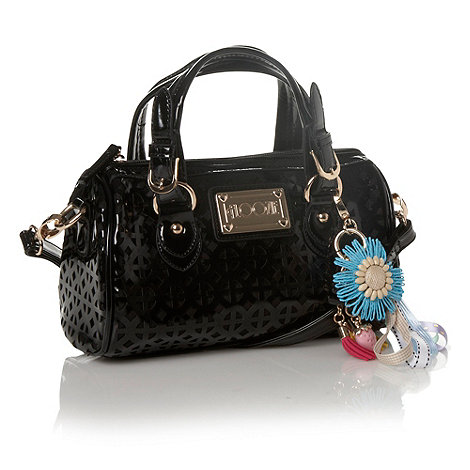 Floozie by Frost French - Designer black cutout patent bowler bag