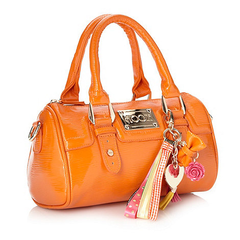 Floozie by Frost French - Orange small textured patent bowler bag
