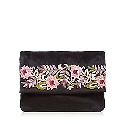 Nine by Savannah Miller - Black floral embroidered clutch bag