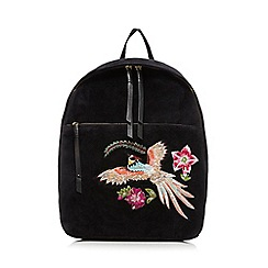 Nine by Savannah Miller - Black floral embroidered velvet backpack