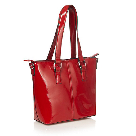 The Collection - Red crosshatch patent grab bag