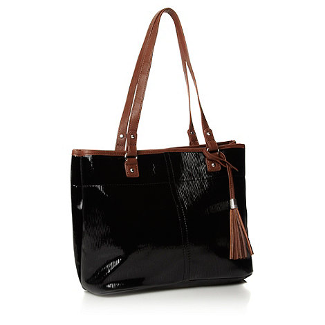 The Collection - Black textured patent tote bag