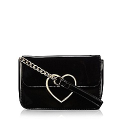 Floozie by Frost French - Black patent heart cross body bag
