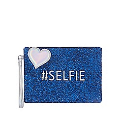 Floozie by Frost French - Blue glittery '#Selfie' clutch bag