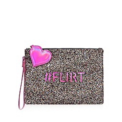 Floozie by Frost French - Pink glittery '#Flirt' clutch bag