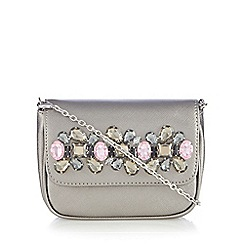 Floozie by Frost French - Silver jewel embellished cross body bag