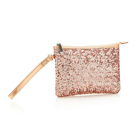 Faith - Rose gold sequinned front clutch bag
