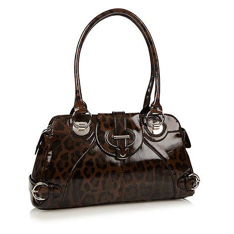 The Collection - Brown leopard patent shoulder bag