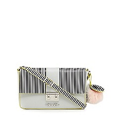 Floozie by Frost French - Grey stripe colour block shoulder bag
