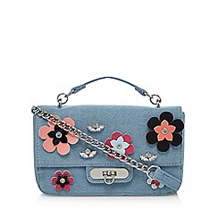 Floozie by Frost French - Light blue denim flower appliqu  cross body bag
