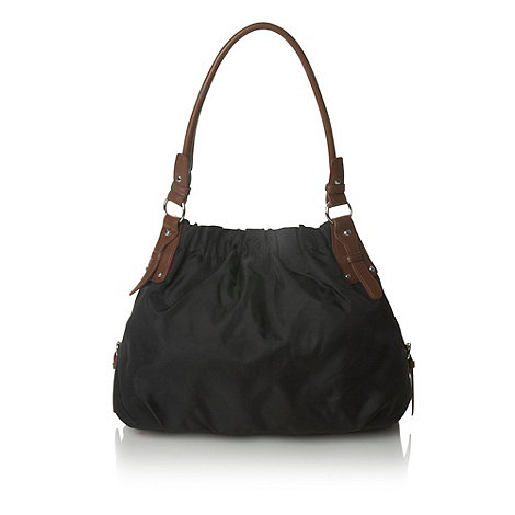 The Collection - Black three section scooped shoulder bag
