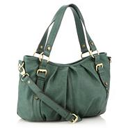 Green mock leather pleated shoulder bag
