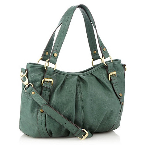 The Collection - Green mock leather pleated shoulder bag