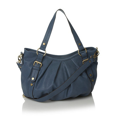 The Collection - Blue leather look pleated shoulder bag