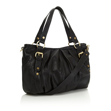The Collection - Black leather look pleated shoulder bag