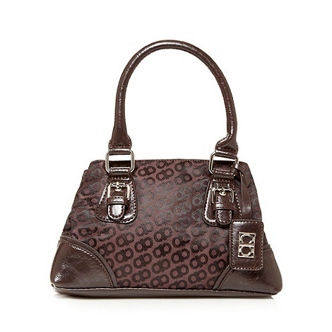 The Collection - Chocolate jacquard bow hand held bag