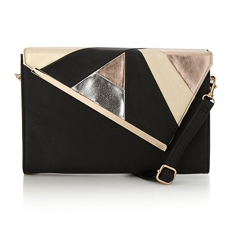 Faith - Black geometric patchwork clutch bag