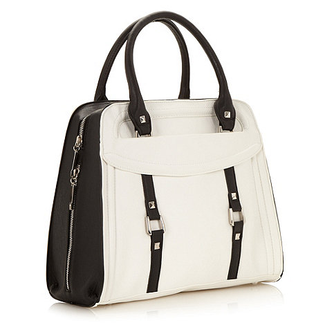 Faith - White studded colour block tote bag