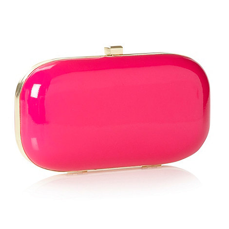 Faith - Pink neon patent clutch bag