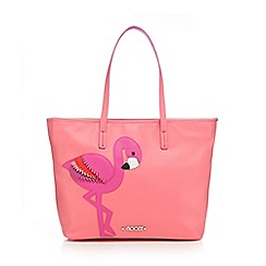 Floozie by Frost French - Pink flamingo embroidered shopper bag