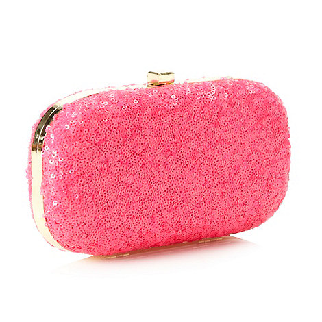Faith - Pink neon sequinned clutch bag
