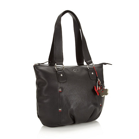 The Collection - Black leather butterfly charm tote bag