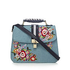 Floozie by Frost French - Blue floral embroidered cross body bag