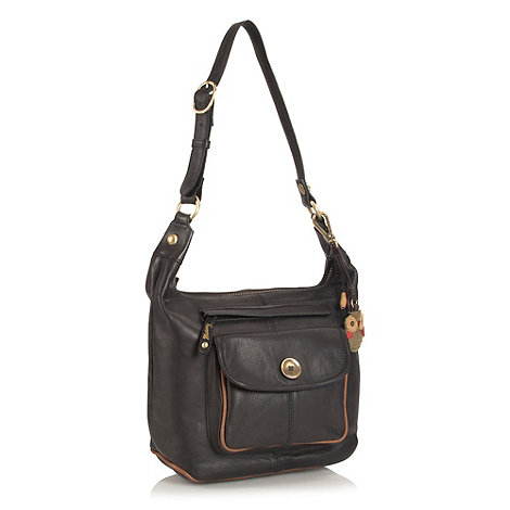 Mantaray - Black leather button shoulder bag