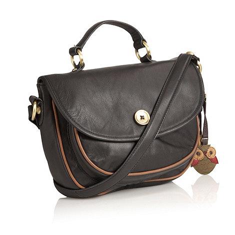 Mantaray - Black leather button applique across body bag
