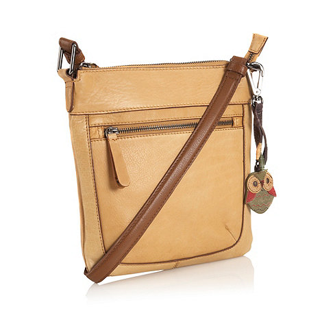 Mantaray - Tan leather stitch pocket cross body bag