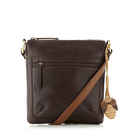 Mantaray - Brown leather stitch pocket cross body bag