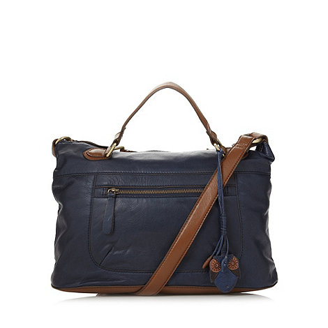 Mantaray - Navy contrasting trim leather grab bag