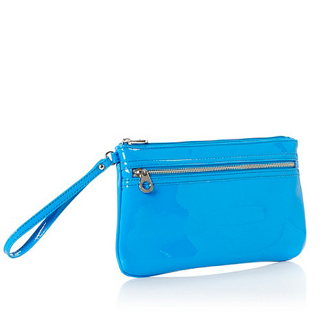 Red Herring - Blue patent wristlet clutch bag